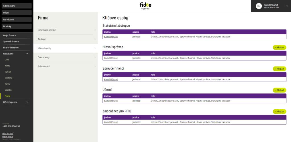 Přidání uživatele do Fidoo aplikace