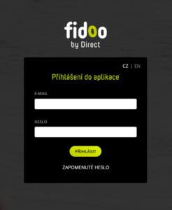 Standard login window Fidoo