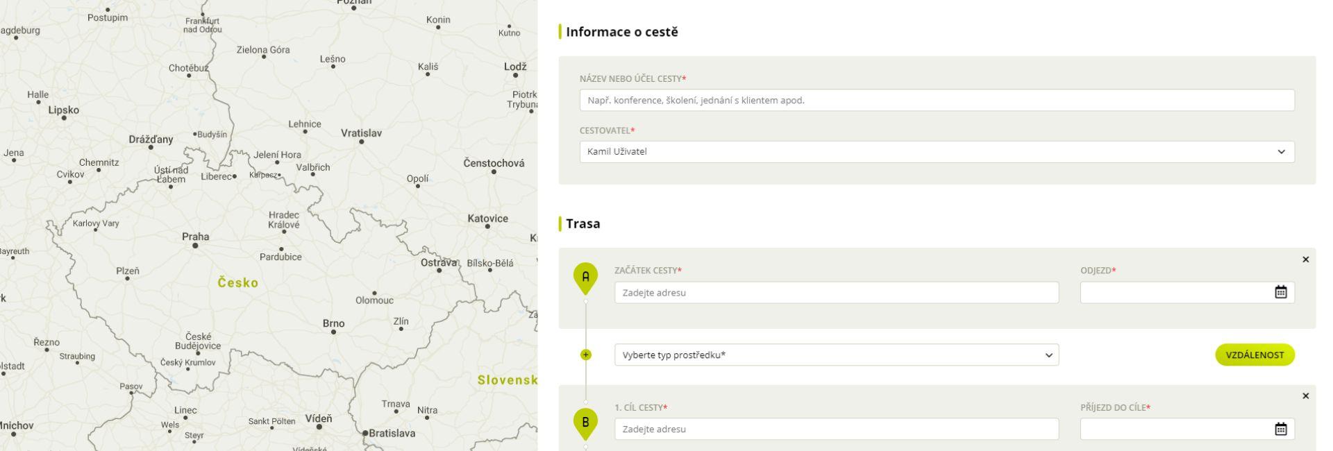 Náhled na tvorbu cesťáku v aplikaci Fidoo