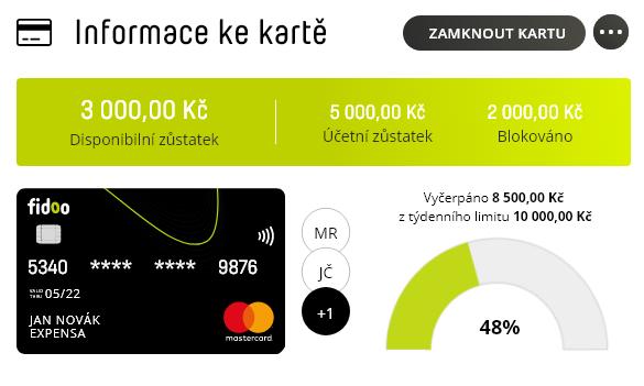 Zobrazení informací k platební kartě ve Fidoo aplikaci