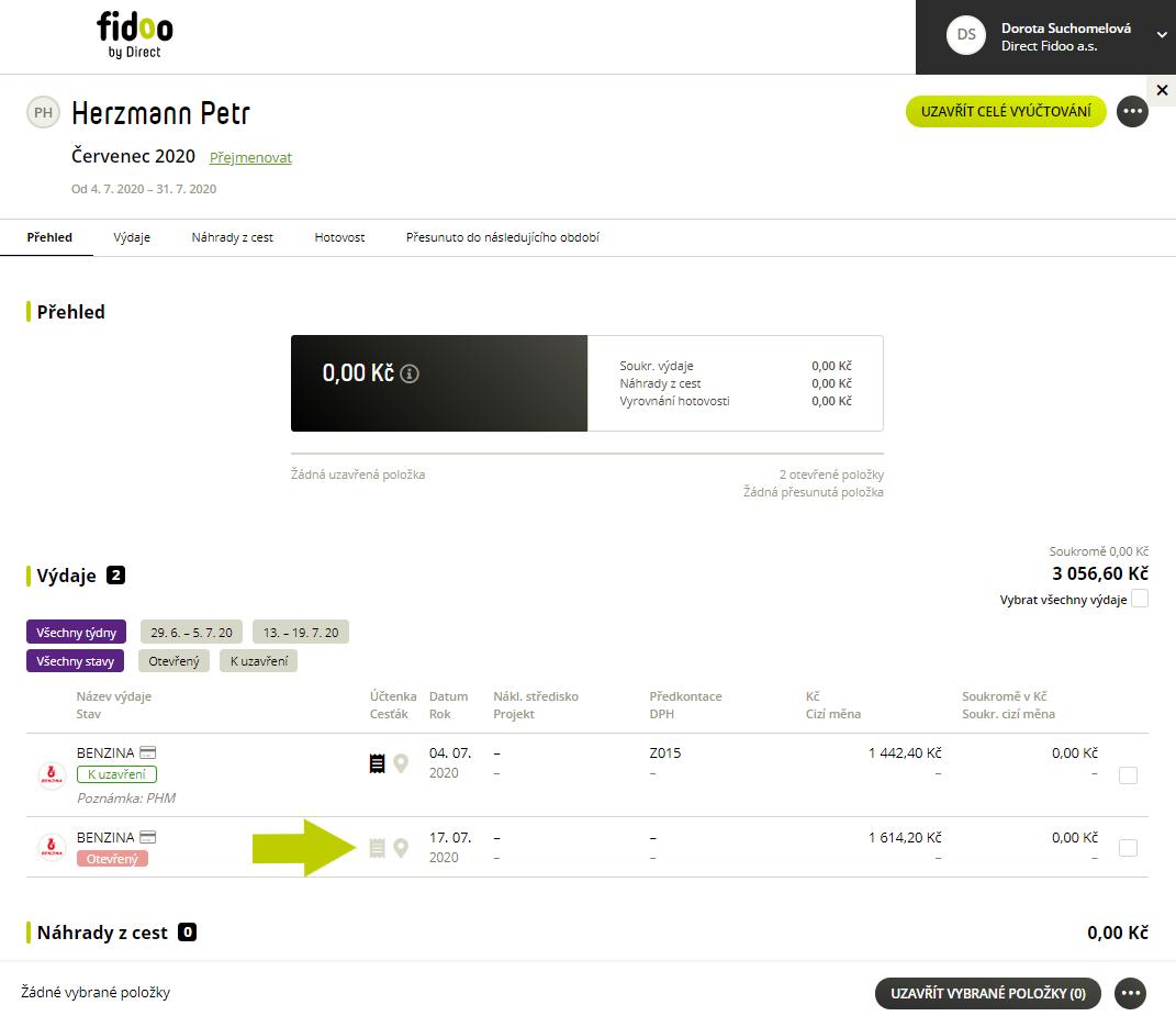 Chybějící účtenka v osobním vyúčtování Fidoo