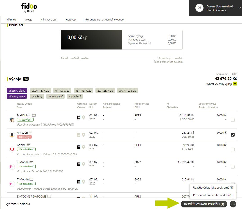 Možnosti uzavření výdajů ve Fidoo