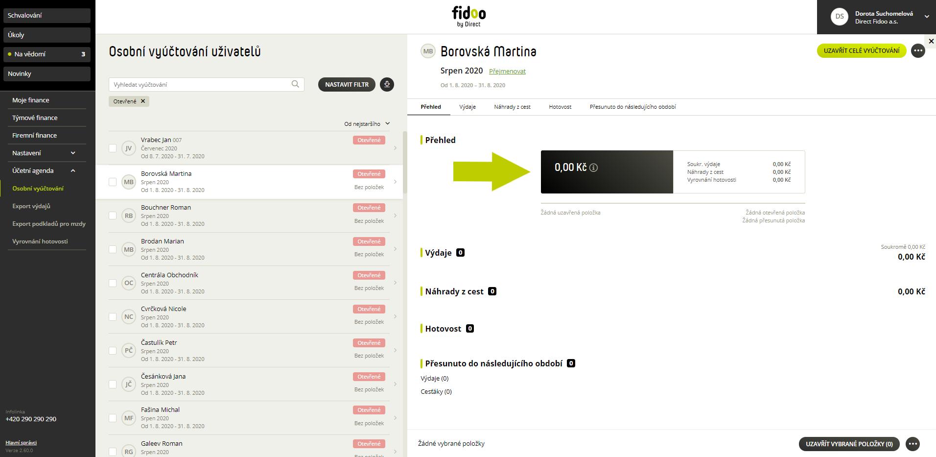 Nově otevřené účetní období zaměstnance ve Fidoo