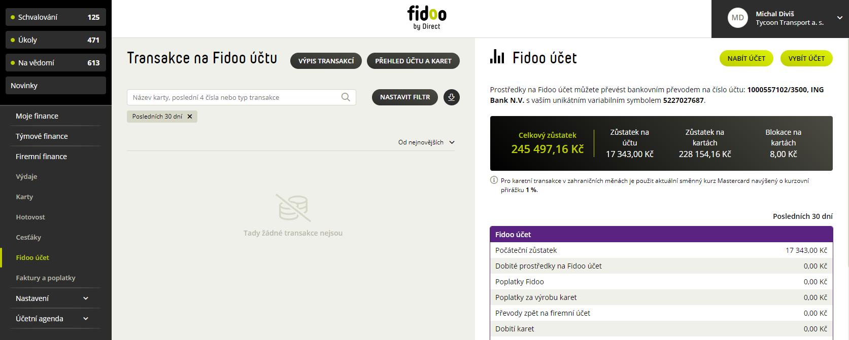 Nový přehled o Fidoo účtu