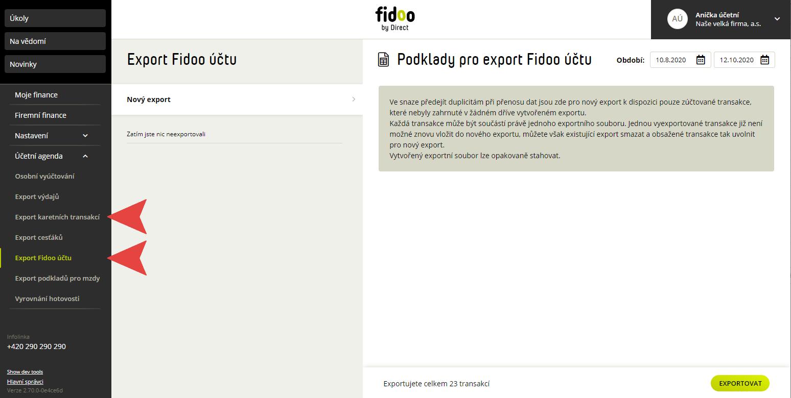 Export účetní agendy ve Fidoo