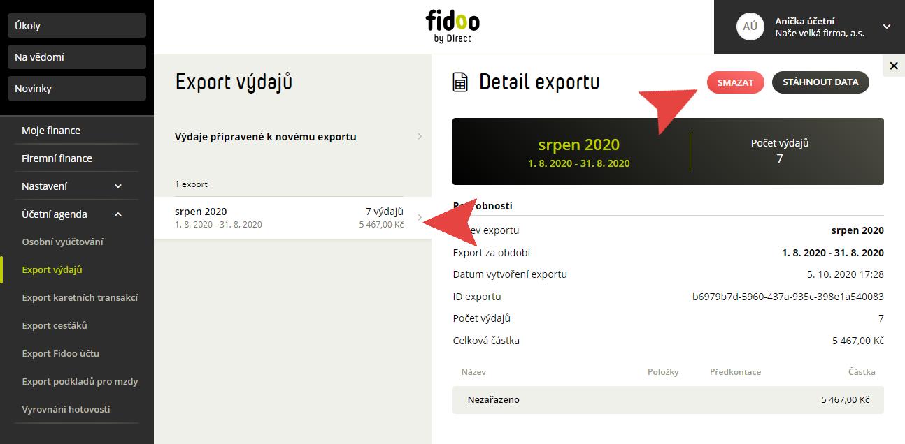 Smazání výdajů v účetní agendě ve Fidoo