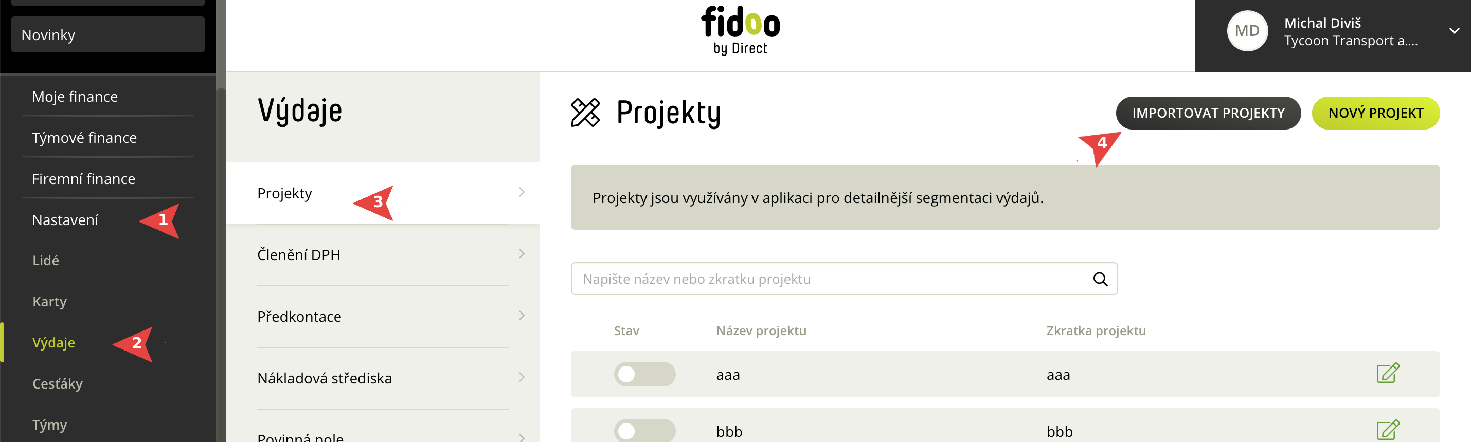 Import projektů ve Fidoo