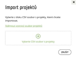 Import projektů ve Fidoo modal