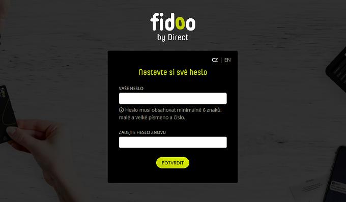 Nastavení hesla do Fidoo