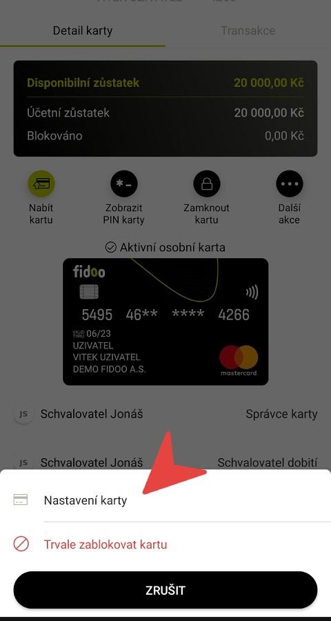 Nastavení karty na mobilu