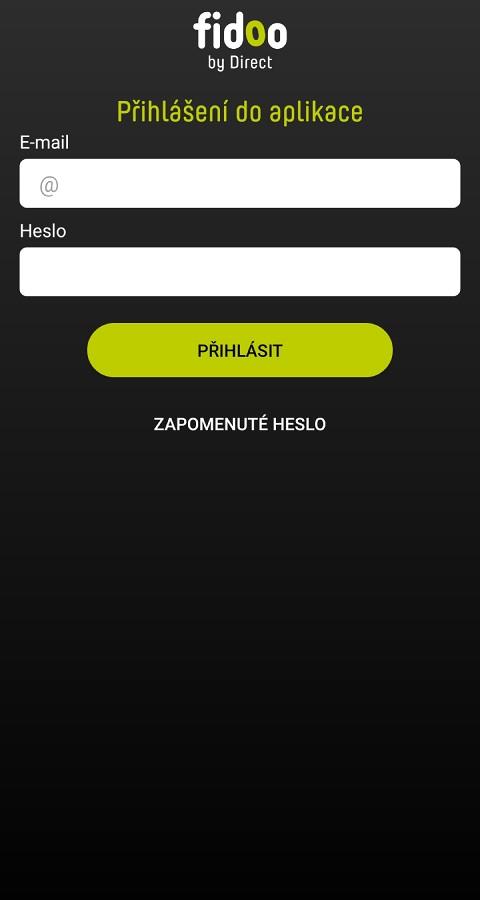 Přihlášení do mobilní aplikace Fidoo