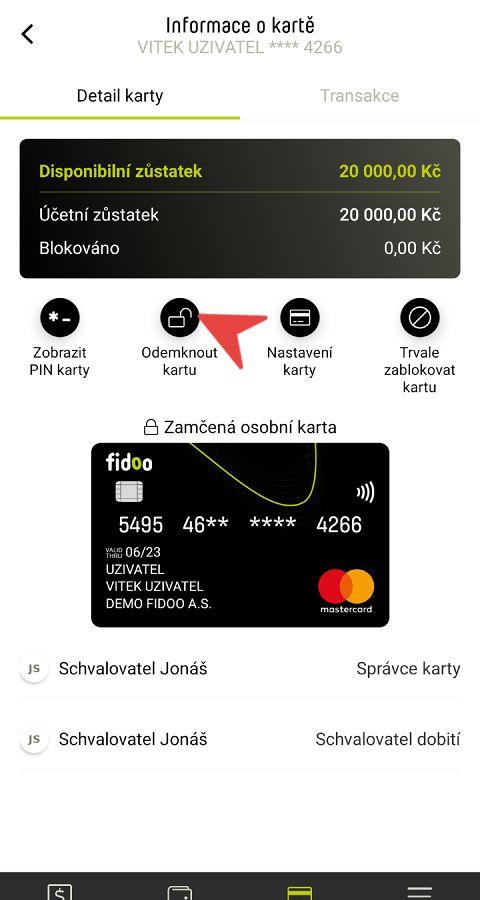 Odemčení karty v appce