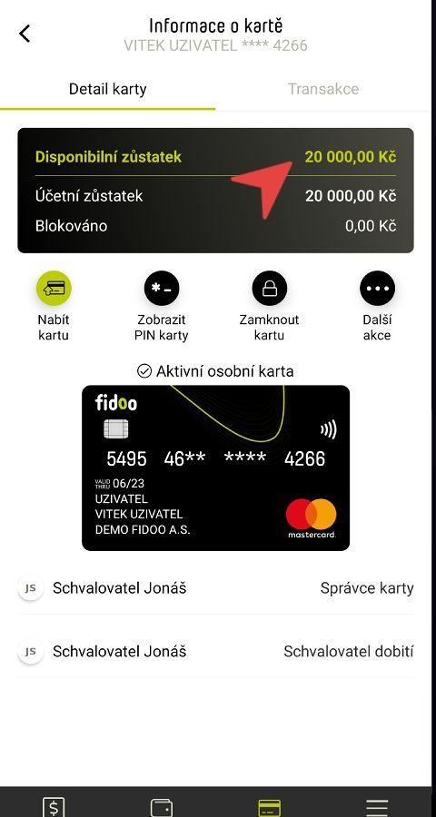 Zůstatek na kartě v mobilu