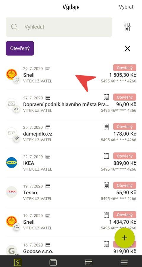 Výdaje v mobilní aplikaci