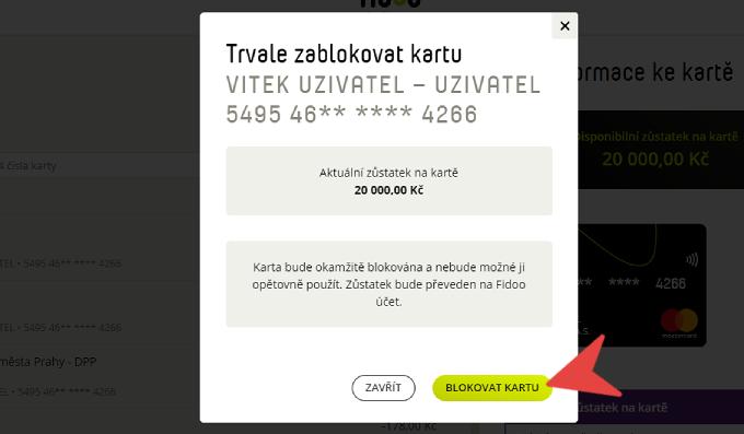 Blokace karty na webu