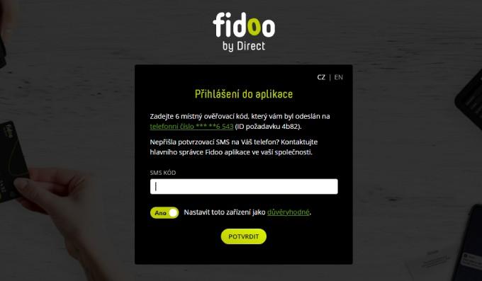 Dvoufaktorové přihlášení do Fidoo