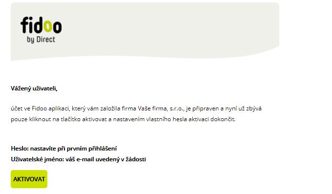 Welcome email Fidoo